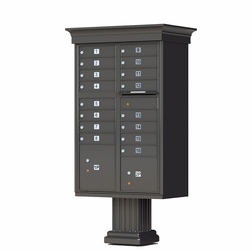 Cluster Box Unit (CBU) in Dark Bronze with Crown Cap and Pillar Pedestal Accessories - 16 Compartments