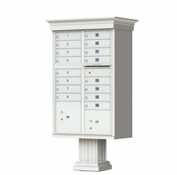 Postal Grey Cluster Box Unit with Crown Cap and Pillar Pedestal accessories - 16 compartment