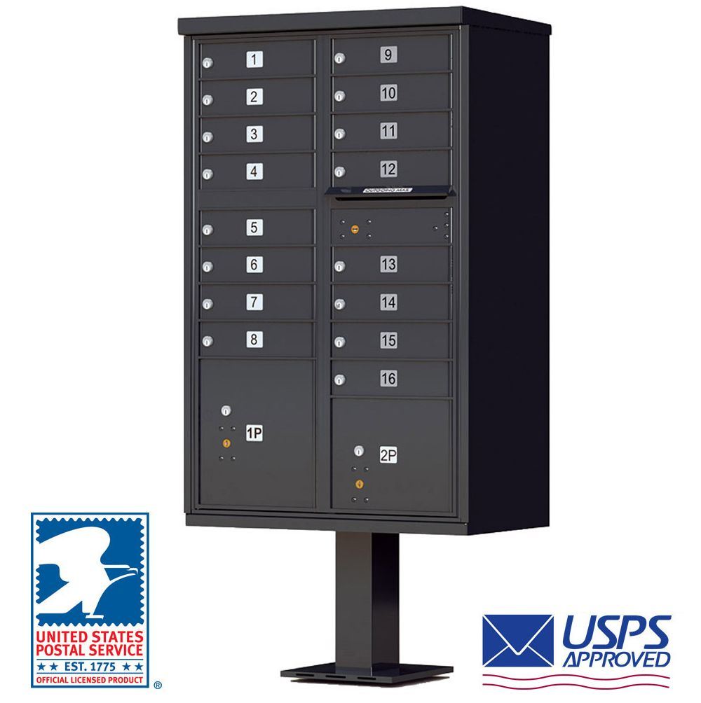 CBU - 16 Tenant Boxes Cluster Mailbox In Black  sc 1 st  Cluster Mailboxes Shipped Direct & 16 Tenant Door Auth-Florence Cluster Box Units | CBU Mailboxes