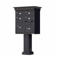 Decorative Crown Cap 4 Door CBU Mailboxes with Extra Large Tenant Doors Black