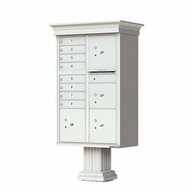 Decorative Crown Cap CBU Commercial Mailboxes - 8 Door with 4 Parcel Lockers - Gray