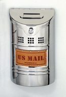 E1 Wall Mounted Polished Stainless Steel Modern Mailbox with Leather Mail Plate (smaller than E2)