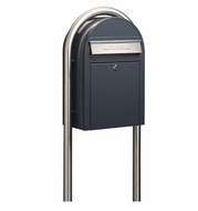 Grey Modern Lockable Mailbox with Stainless Steel Post and Slot Package