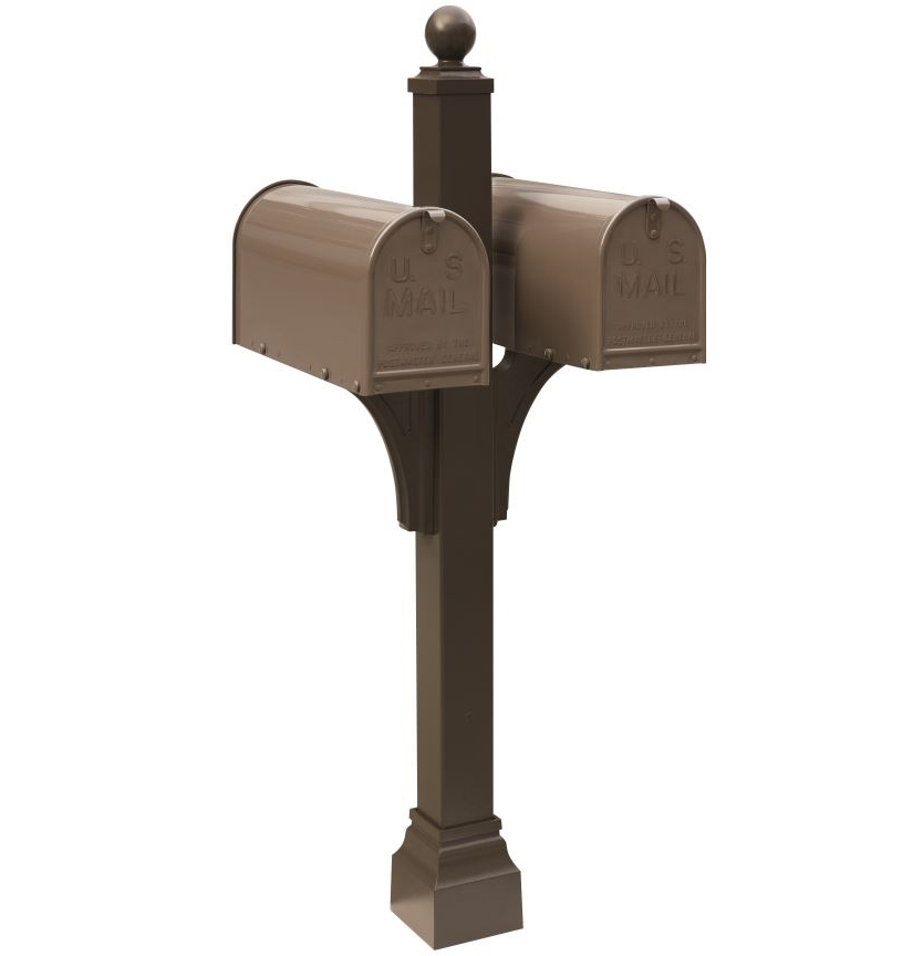 Bronze Mailbox With Post Part - 18: Janzer Multi-Mount Double Mailbox Post - Textured Bronze (Mailboxes Sold  Separately)