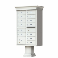 Postal Grey Cluster Box Unit with Crown Cap and Pillar Pedestal accessories - 13 compartment