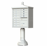 Postal Grey Cluster Box Unit with Finial Cap and Traditional Pedestal accessories - 12 compartment