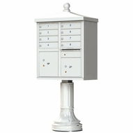 Postal Grey Cluster Box Unit with Finial Cap and Traditional Pedestal accessories - 8 compartment