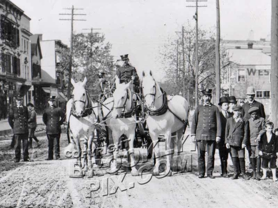 18th Avenue looking NE to 86th Street showing Engine Company 143, 1908