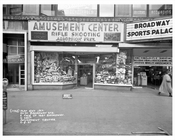 50th Street & Broadway in front of Amusement Center Rifle Shooting 1957  - Midtown Manhattan - New York, NY