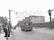 5th Avenue at 64th Street, 1949, last day of trolley operation