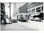 Trolley passing down a car lined street - 7th Ave & Union St 1951 Brooklyn NY