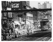 7th Avenue - Trolley & Horse & Buggy intersection with a Huge Coca-Cola Billboard in the background 1917 Chelsea NYC