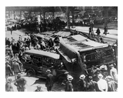 A Myrtle Ave El train collided with a 5th Ave El train early 1900s  -Boerum Hill-  Brooklyn NYC