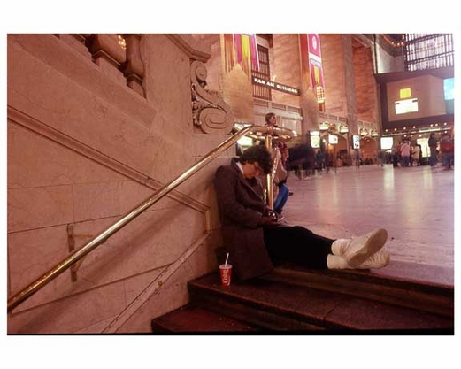 A sleepy commuter - Inside Grand Central Station 1988