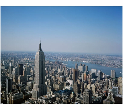 Aerial view of Lower Manhattan with the the Empire State Building