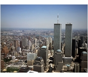 Aerial view of Lower Manhattan, with the World Trade Center in view
