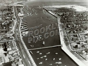 Aerial view of Sheepshead Bay looking east, Ocean Ave. bridge in foreground, 1938