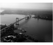 Aerial view of Throgs Neck Bridge from the Bronx looking south