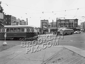 Bartel-Pritchard Square, where Coney Island Avenue trolleys looped to return to Coney Island, c.1950