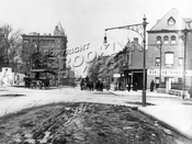 Bedford Ave. looking north to Atlantic Ave., showing the 1893 Halliday Building at Fulton St., 1907