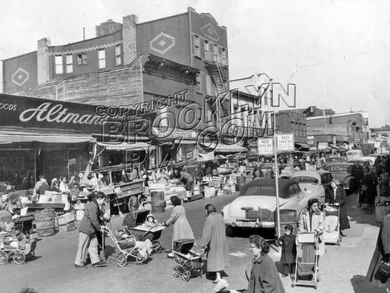 Belmont Avenue pushcart market east from Thatford Avenue, 1955