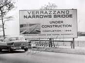 Belt Parkway, Verrazano Bridge announcement with 1956 Super 88 Oldsmbile, 1961