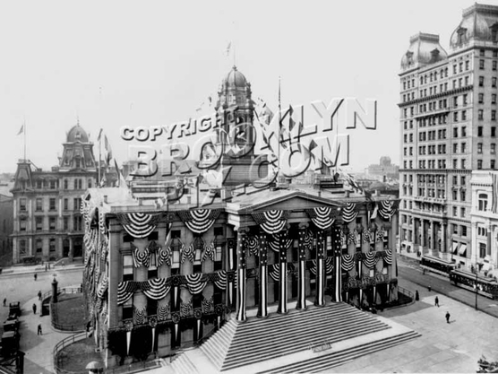 Borough Hall in full bunting during 1908 subway-opening celebration