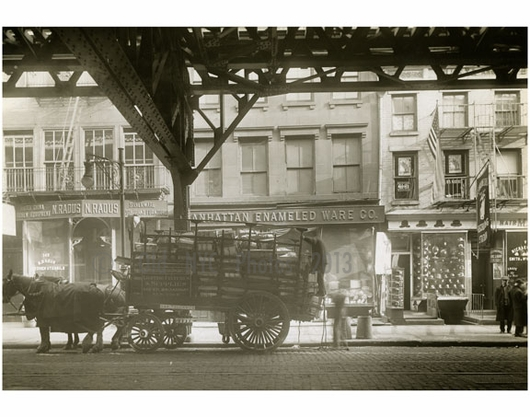 Bowery east side between delancey broome street 1916 for Mural on broome street
