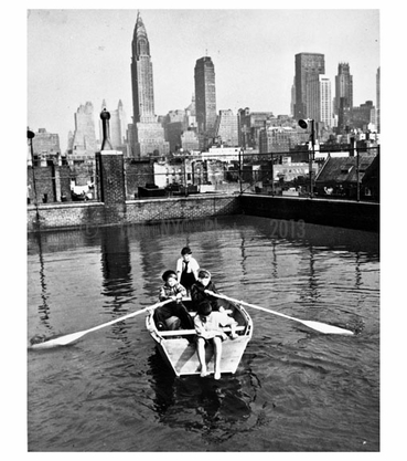 Boys rowing in rooftop pool at Madison Sq. Boys Club 1950