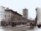 Brooklyn Avenue, north to Lincoln Place; St. Gregory's church tower under construction, 1915