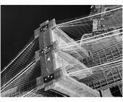 Brooklyn Bridge - aerial view looking at the top of the Manhattan Tower 1982