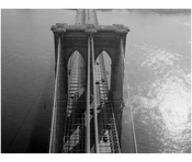 Brooklyn Bridge - aerial view looking down from the Manhattan tower 1982
