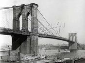 Brooklyn Bridge ca. 1900 from Manhattan near current South Street Seaport location