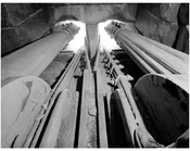 Brooklyn Bridge - inside view of the east tower - looking at the two center cables extending out of masonry openings 1983