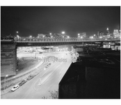Brooklyn Bridge - night view looking west at Brooklyn side span and anchorage 1982