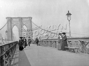 "Brooklyn Bridge pedestrian walkway during the ""Gay 1890s"""