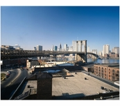Brooklyn Bridge - rooftop view from warehouse on Water Street in Brooklyn