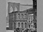 Brooklyn Bridge seen from Fulton and Water Streets, Brooklyn, c.1940