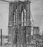 Brooklyn Bridge under construction, 1879