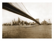 Brooklyn Bridge with Manhattan skyline behind