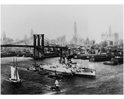Brooklyn Bridge with the U.S.S. Florida passing infront