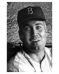 Brooklyn Dodger  Duke Snider in the dugout at Ebbets Field 1957 - Brooklyn NY