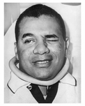 Brooklyn Dodger Roy Campenella in a neck brace - 1958 Brooklyn NY