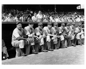 Brooklyn Dodgers 1940 - lined up in the dug out  - Ebbets Field - Flatbush - Brooklyn NY