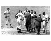Brooklyn Dodgers Pitching Mound Conference - Pitcher Don Newcombe far right  at Ebbets Field - 1957 - Flatbush  - Brooklyn NY