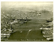 Brooklyn Manhattan Williamsburg Bridge 1932 Postcard - Aerial Shot of NYC