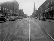 Bushwick Ave. looking southeast to Melrose St. showing St. Mark's Church at Jefferson St.
