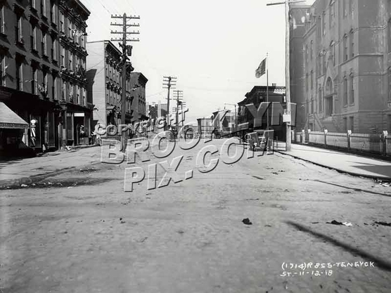 Bushwick Avenue looking north at Ten Eyck Street, 11-12-1918