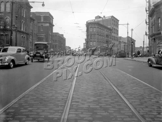 Bushwick Avenue looking north to Arion Place, PS24 at Beaver Street, 1940