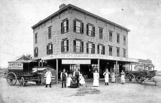 Butecke's Meat Market, NE corner Ave. L and E.95th St., 1890s, courtesy Alice Lowder Zetterstrom